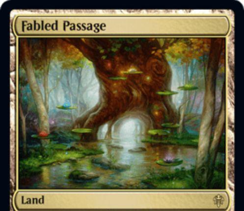 【エルドレインの王権】レア土地「Fabled Passage」が公開!タップと生贄でライブラリーから基本土地をタップイン!その後、土地が4枚以上あるならそれをアンタップ!