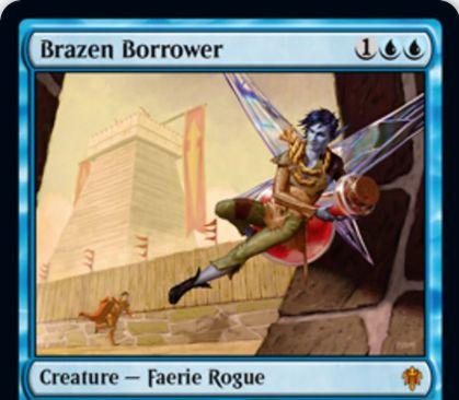 【エルドレインの王権】青神話のならず者フェアリー「Brazen Borrower」が公開!3/1瞬速・飛行&飛行持ち生物しかブロックできない!出来事インスタント《Petty Theft》では、青1で相手の非土地パーマネントを手札に戻す!