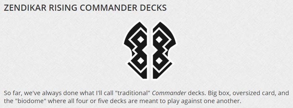 MTG「ZENDIKAR RISING COMMANDER DECKS」の情報が公開!プレインズウォーカーデッキの代替製品として発売!