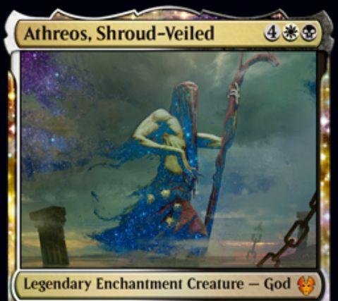 【テーロス還魂記】新エイスリオス「Athreos, Shroud-Veiled」が公開!coinカウンターを操る白黒の伝説エンチャント神!
