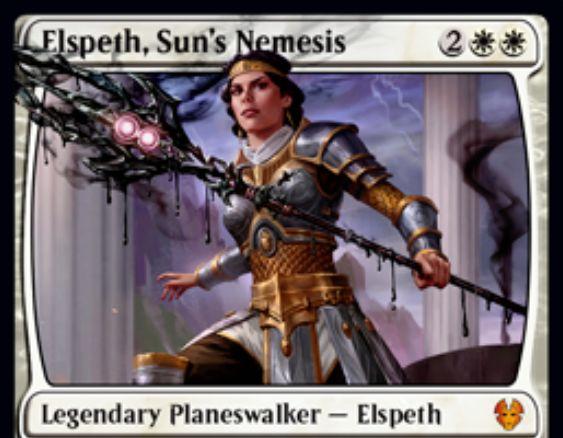 【テーロス還魂記】新エルズペス「Elspeth, Sun's Nemesis」が公開!新キーワード能力「Escape」で墓地からも唱えられる白単プレインズウォーカー!