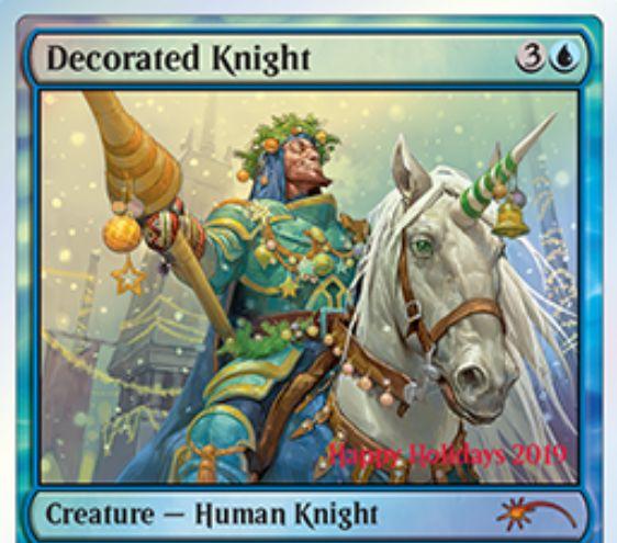2019年ホリデーギフトプロモ「Decorated Knight」が公開!出来事ソーサリー「Present Arms」で自分のデッキをゲーム外のデッキと丸ごと入れ替える!