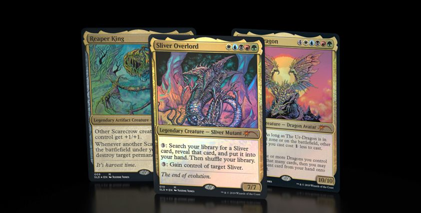 【Secret Lair】8日26時より「Kaleidoscope Killers」が販売開始!3種の5色伝説クリーチャー《始祖ドラゴン》《スリヴァーの首領》《刈り取りの王》が封入!24時間の限定販売!
