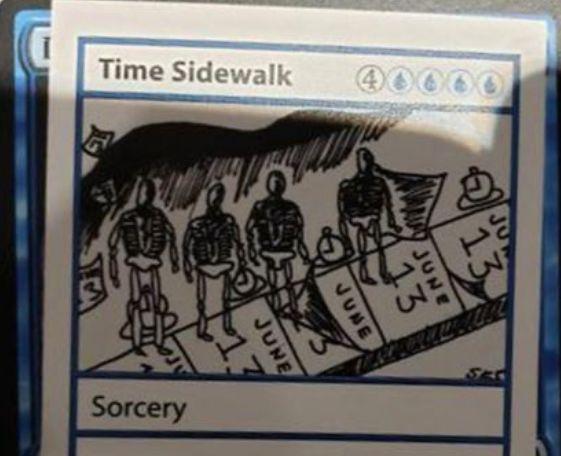 【Time Walk×4】ミステリーブースター収録の《Time Sidewalk》が強い!?初手のこのカードを追放すれば、デッキに《Time Walk》のトークン4枚を加えられる!