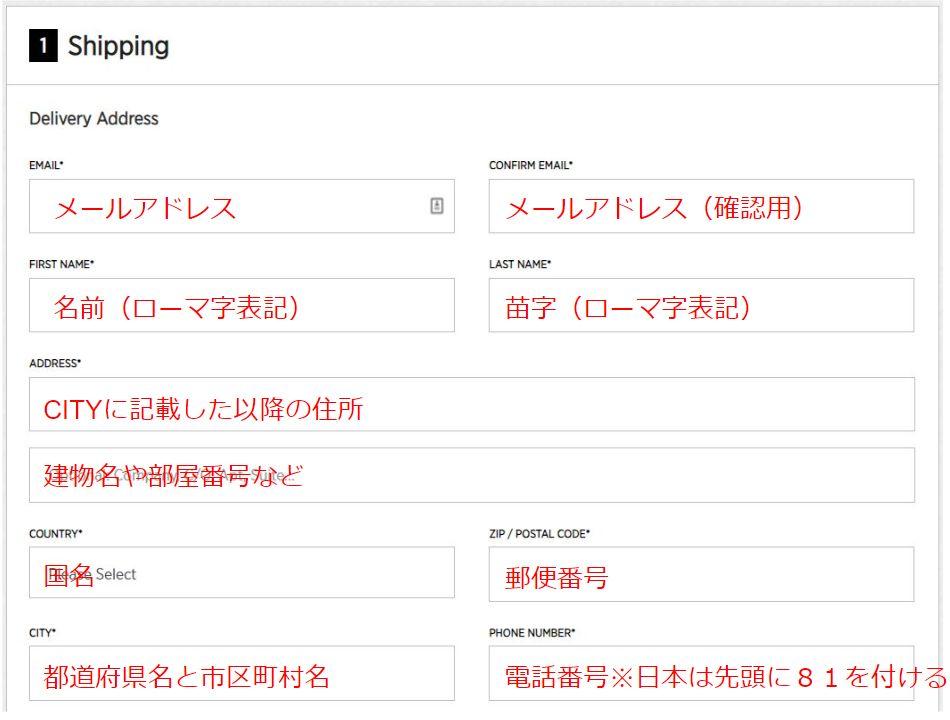 住所の情報を入力する(Shipping)