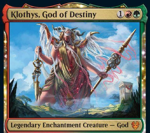 【テーロス還魂記】赤緑の伝説エンチャント神「Klothys, God of Destiny」が公開!3マナ4/5破壊不能&赤緑信心7以上でクリーチャー化&戦闘前メインフェイズに墓地カード1枚を追放し、そのカード種類に応じた効果を発動!