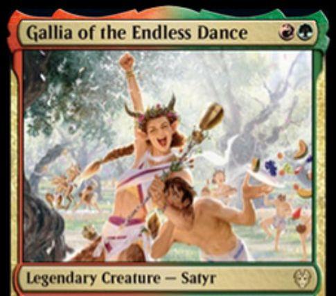 【Gallia of the Endless Dance】MTG「テーロス還魂記」収録の赤緑伝説サテュロスが公開!2マナ2/2速攻&他のサテュロスに+1/+1と速攻を付与&3体以上でアタックしたなら、手札1枚をランダムに捨てることで2枚ドローが可能に!