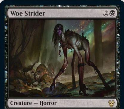 【Woe Strider】MTG「テーロス還魂記」に収録の黒ホラーが公開!3マナ3/2&ETBで0/1の白ヤギトークンを2体生成&生物を生贄にして占術1&黒黒3と墓地4枚追放で2つの+1/+1カウンターとともに脱出!