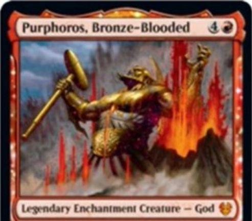 【Purphoros, Bronze-Blooded】MTG「テーロス還魂記」に収録される赤神話の伝説エンチャント神「パーフォロス」の情報が公開!