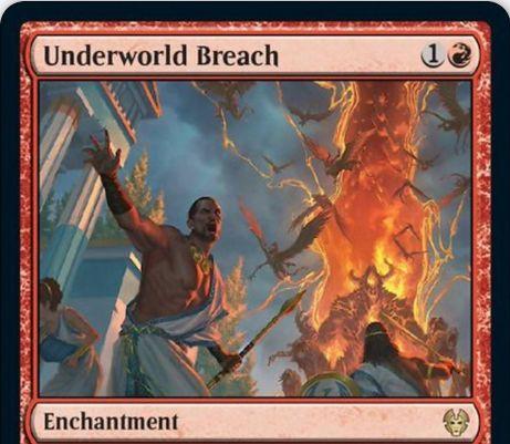 【Underworld Breach】MTG「テーロス還魂記」収録の赤エンチャントが公開!あなたの墓地の土地でないカードに「脱出」を付与!脱出コストはそのカードのマナコストと墓地3枚の追放!このカードは終了ステップ開始時に生贄!