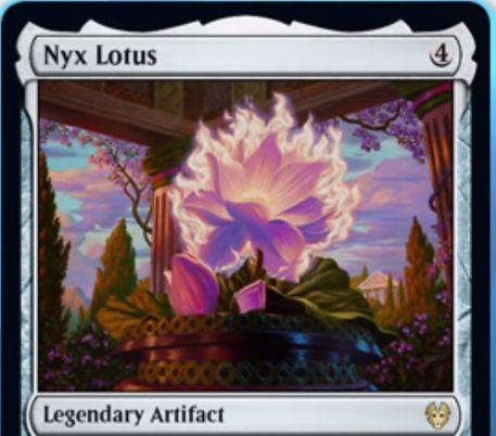 【Nyx Lotus】MTG「テーロス還魂記」に収録の伝説アーティファクトが公開!タップインし、タップで特定色の信心に等しいマナを生産するロータスの名を持つマナファクト!