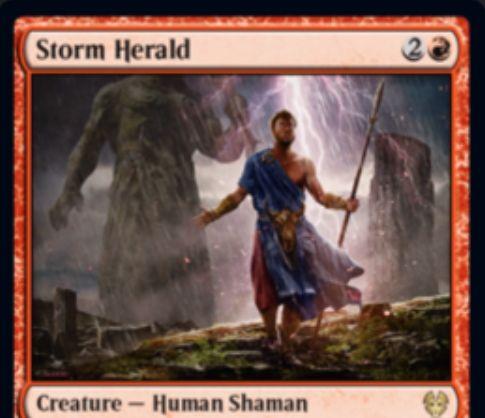 【Storm Herald】MTG「テーロス還魂記」収録の赤人間シャーマンが公開!3マナ3/2速攻&ETBで墓地のオーラを好きなだけクリーチャーに付ける!それらのオーラは終了ステップに追放!