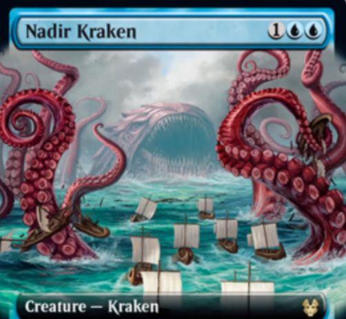 【Nadir Kraken】MTG「テーロス還魂記」収録の青クラーケンが公開!3マナ2/3&あなたがカードを引くたびに1マナを任意で支払い、支払ったなら+1/+1カウンターを得つつ青の1/1「Tentacle」トークンを生成!