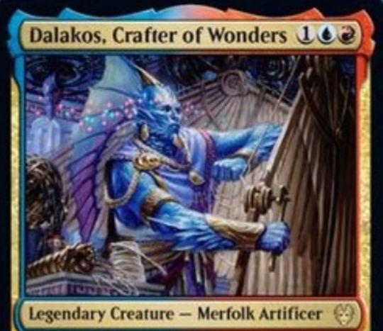 【テーロス還魂記】青赤レアの伝説マーフォーク工匠「Dalakos, Crafter of Wonders」が公開!アーティファクト(装備品)関連の2つの能力を有する!