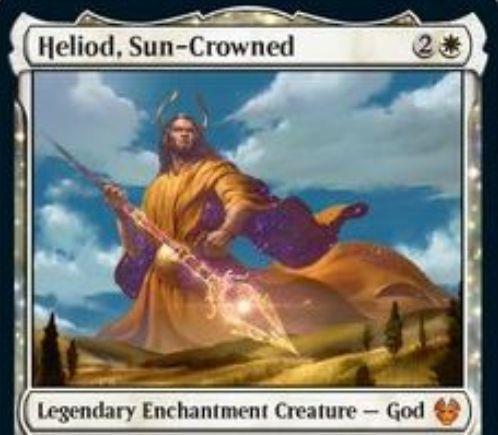 【Heliod, Sun-Crowned】MTG「テーロス還魂記」収録の白神話エンチャント神「ヘリオッド」が公開!3マナ5/5破壊不能&白信心5未満ならクリーチャーでない&あなたがライフを得るたびに+1/+1カウンターをあなたの対象クリーチャーかエンチャントに置く&白1で他のクリーチャーに絆魂を付与!