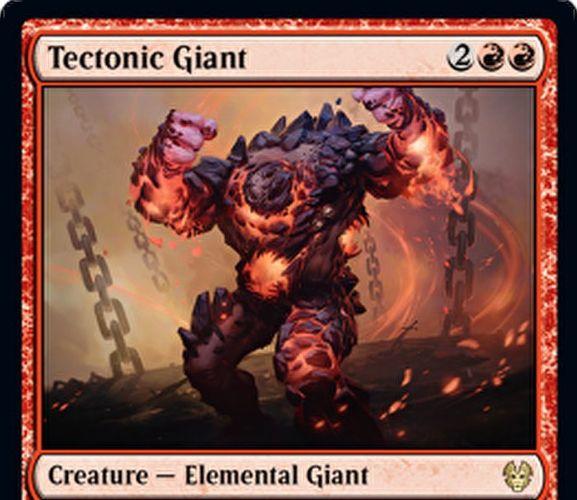 【Tectonic Giant】MTG「テーロス還魂記」収録の赤エレメンタル巨人が公開!4マナ3/4&攻撃時か相手の呪文の対象になるたびに2種の効果から1種を選べる!