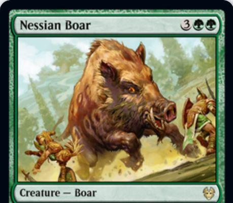 【Nessian Boar】MTG「テーロス還魂記」収録の緑レア猪が公開!5マナ10/6&このカードへのブロックを強制&このカードをブロックしたクリーチャーのコントローラーに1ドローを与える!