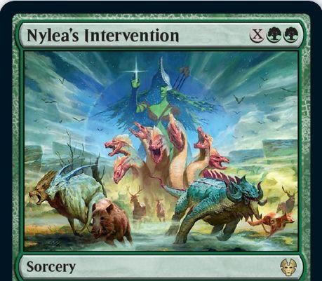 【Nylea's Intervention】MTG「テーロス還魂記」収録の緑ソーサリーが公開!緑緑Xで「ライブラリーからX枚の土地を手札に加える」か「すべての飛行クリーチャーにXの2倍ダメージ」かを選べる!