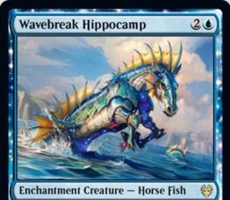 【Wavebreak Hippocamp】MTG「テーロス還魂記」収録の青エンチャント馬魚が公開!3マナ2/2&相手ターンにあなたが最初の呪文を唱えたなら1ドロー!