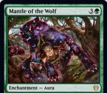 【Mantle of the Wolf】MTG「テーロス還魂記」収録の緑オーラが公開!4マナでエンチャント先に+4/+4&これが戦場から墓地に置かれたら2/2の緑狼トークンを2体生成!