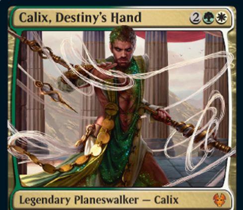 【Calix, Destiny's Hand】MTG「テーロス還魂記」収録の緑白伝説神話プレインズウォーカーが公開!4マナで初期忠誠値4&エンチャント関連の3種の忠誠度能力を持つ!