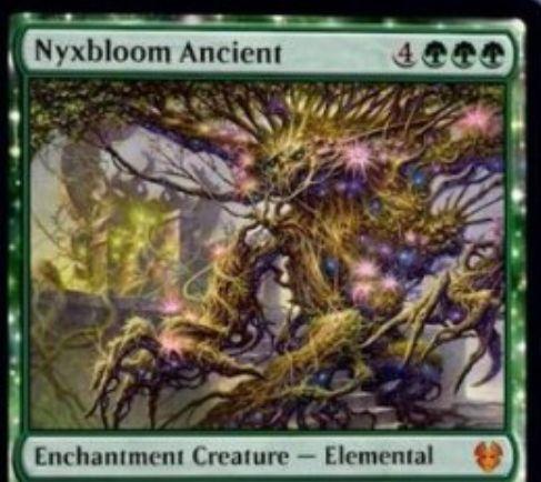 【Nyxbloom Ancient】MTG「テーロス還魂記」収録の緑神話エンチャント・エレメンタルが公開!7マナ5/5トランプル&あなたのパーマネントが生むマナを3倍にする!