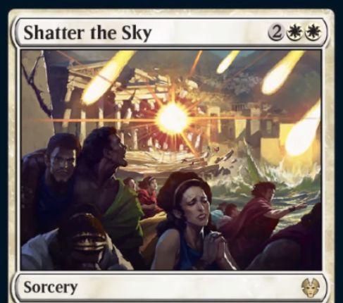 【Shatter the Sky】MTG「テーロス還魂記」収録の白ソーサリーが公開!4マナの全体除去で、パワー4以上のクリーチャーをコントロールしているプレイヤーは1枚ドロー!