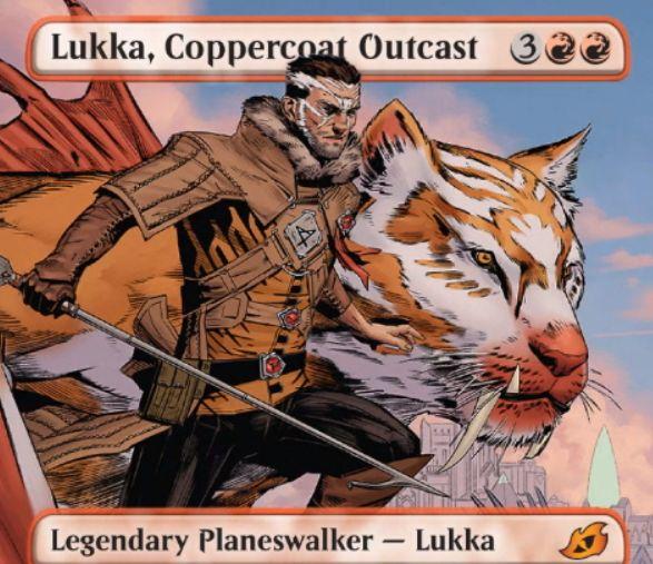 【Lukka, Coppercoat Outcast】MTG「イコリア:巨獣の棲処」収録の赤神話プレインズウォーカーが公開!