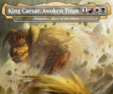 【King Caesar, Awoken Titan】MTG「テーロス還魂記」収録の赤白黒伝説神話恐竜・猫・ナイトメアが公開!ゴジラより「キングシーサー」がMTGカードに!