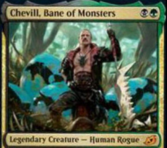 【Chevill, Bane of Monsters】MTG「イコリア:巨獣の棲処」収録の黒緑伝説神話人間・ならず者が公開!2マナ1/3接死&自アップキープに相手の生物かPWに賞金カウンターを置き、それを死亡させたら3点ライフとドローを獲得!