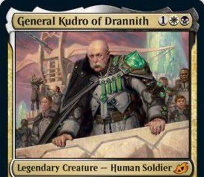 【General Kudro of Drannith】MTG「イコリア:巨獣の棲処」収録の白黒伝説神話人間兵士が公開!3マナ3/3の人間ロード!