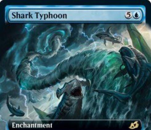 【Shark Typhoon】MTG「イコリア:巨獣の棲処」収録の青単エンチャントが公開!あなたが非生物呪文を唱えるたびにそのマナコストに等しいX/X飛行の青鮫トークンを生成!X1青でサイクリングすることで、X/X飛行青鮫トークンを生成することも可能!