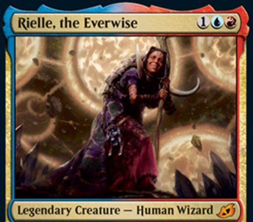 【Rielle, the Everwise】MTG「イコリア:巨獣の棲処」収録の青赤伝説神話人間ウィザードが公開!3マナ0/3&あなたの墓地のインスタントとソーサリーの枚数だけパワーが増加&あなたが最初にカードを捨てたとき、捨てた枚数だけドロー!