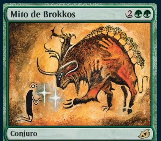 《ブロコスの神話》【Mythos of Brokkos】MTG「イコリア:巨獣の棲処」収録の緑単ソーサリーが公開!自墓地のパーマネント2枚を手札に戻す!この呪文に青黒が支払われていたなら、墓地カードを手札に戻す前にライブラリーから好きなカード1枚を墓地に置ける!