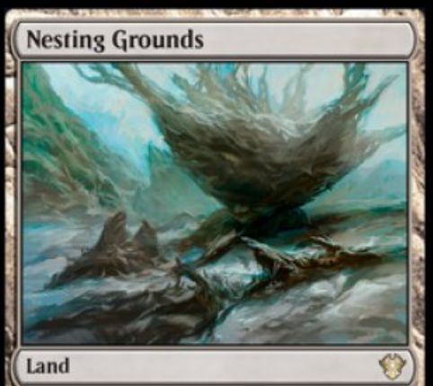 【Nesting Grounds】MTG「イコリア:巨獣の棲処」収録のレア土地が公開!パーマネントの上のカウンターを移動する起動型能力を持つ!