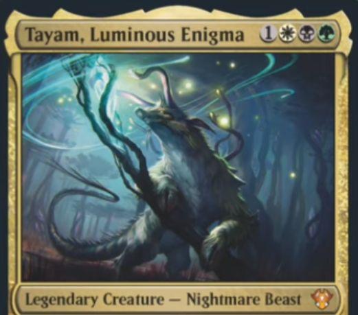 【Tayam, Luminous Enigma】MTG「統率者2020」収録の白黒緑伝説ナイトメア・ビーストが公開!あなたのクリーチャーが戦場に出る際に警戒カウンターを付与!墓地のパーマネントを場に出す起動型能力も!