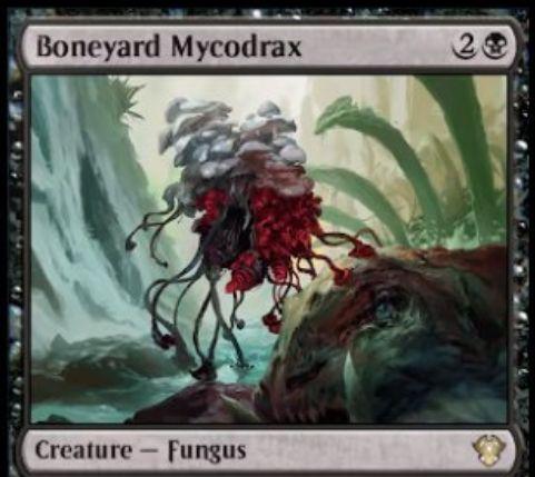 【Boneyard Mycodrax】MTG「統率者2020」収録の黒単ファンガスが公開!墓地の他の生物の数に等しいP/Tを持ち、黒4で「活用」も可能!