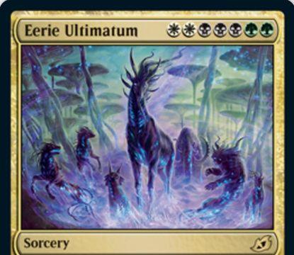 【Eerie Ultimatum】MTG「イコリア:巨獣の棲処」収録の白黒緑ソーサリーが公開!あなたの墓地から名前が異なるパーマネントを好きなだけ戦場に戻るせる「根本原理」サイクルの1枚!