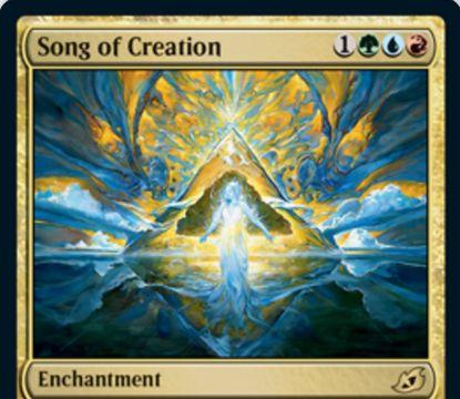 【Song of Creation】MTG「イコリア:巨獣の棲処」収録の青赤緑エンチャントが公開!自分の各ターンに追加の土地をプレイ可能&あなたが呪文を唱えるたびに2ドロー&あなたの終了ステップ開始時に手札をすべて捨てる!