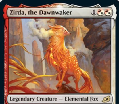【Zirda, the Dawnwaker】MTG「イコリア:巨獣の棲処」収録の白赤伝説エレメンタル狐が公開!白赤混色3マナ3/3&あなたの開始時デッキのパーマネントがすべて起動型能力を持つなら相棒条件達成!