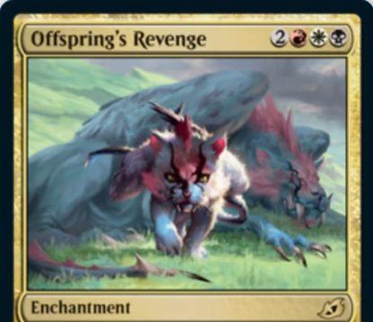 【Offspring's Revenge】MTG「イコリア:巨獣の棲処」収録の白黒赤エンチャントが公開!あなたの戦闘開始時にあなたの墓地の白か黒か赤のクリーチャーを追放することで、それのコピーである速攻持ち1/1トークンを生成!