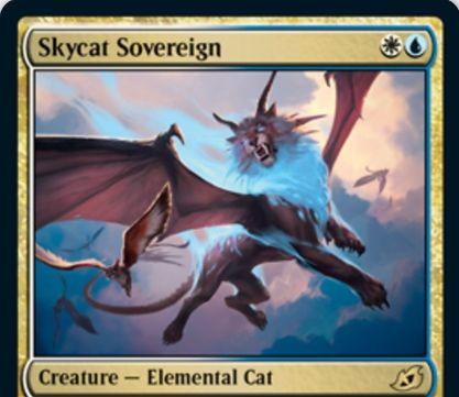 【Skycat Sovereign】MTG「イコリア:巨獣の棲処」収録の白青エレメンタル猫が公開!2マナ1/1飛行&自軍のほかの飛行クリーチャーの数だけ+1/+1&白青2で1/1飛行の白猫鳥トークンを生成!