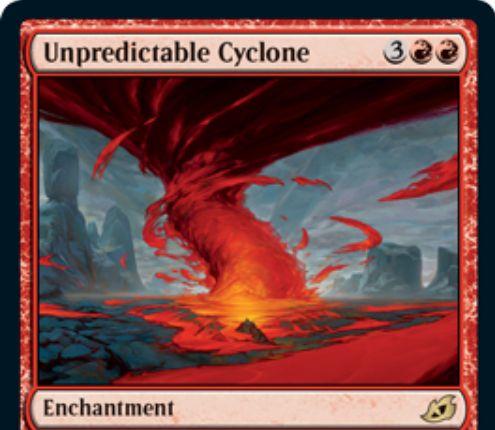 【Unpredictable Cyclone】MTG「イコリア:巨獣の棲処」収録の赤単エンチャントが公開!土地でないカードのサイクリングの効果を「1枚ドロー」から「ライブラリーの一番上にある共通タイプのカードの無料プレイ」に変える!