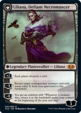 反抗する屍術師、リリアナ(Liliana, Defiant Necromancer):MTG「COMMANDER COLLECTION: BLACK」収録